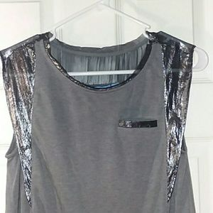 Vera Wang semi-sheer sleeveless top Size Small